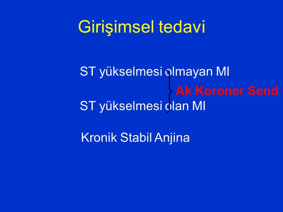 Girişimsel tedavi ST yükselmesi olmayan MI ST yükselmesi olan MI Ak Koroner Send Kronik Stabil Anjina