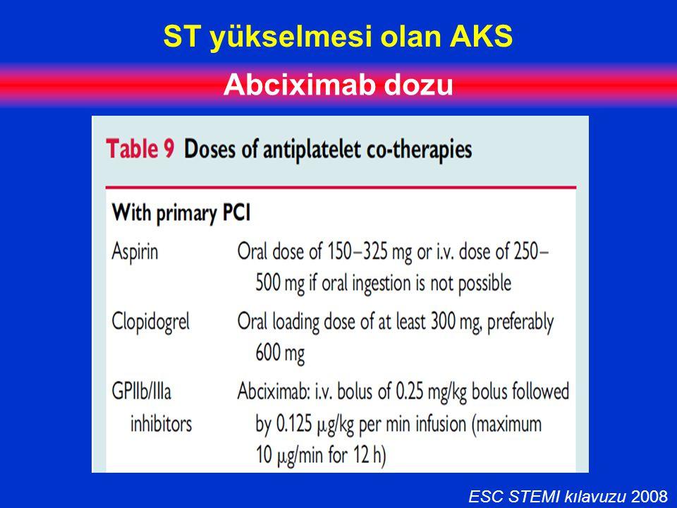 ST yükselmesi olan AKS Abciximab dozu ESC STEMI kılavuzu 2008