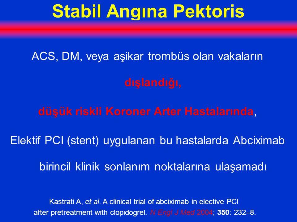 Stabil Angına Pektoris ACS, DM, veya aşikar trombüs olan vakaların dışlandığı, düşük riskli Koroner Arter Hastalarında, Elektif PCI (stent) uygulanan bu hastalarda Abciximab birincil klinik sonlanım noktalarına ulaşamadı Kastrati A, et al.