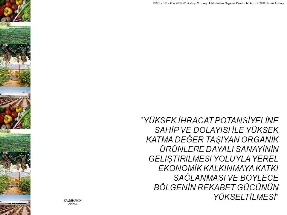 "DIME - EIB - AEA 2008 Workshop 'Turkey: A Model for Organic Products' April 7 2008, Izmir Turkey ""YÜKSEK İHRACAT POTANSİYELİNE SAHİP VE DOLAYISI İLE Y"
