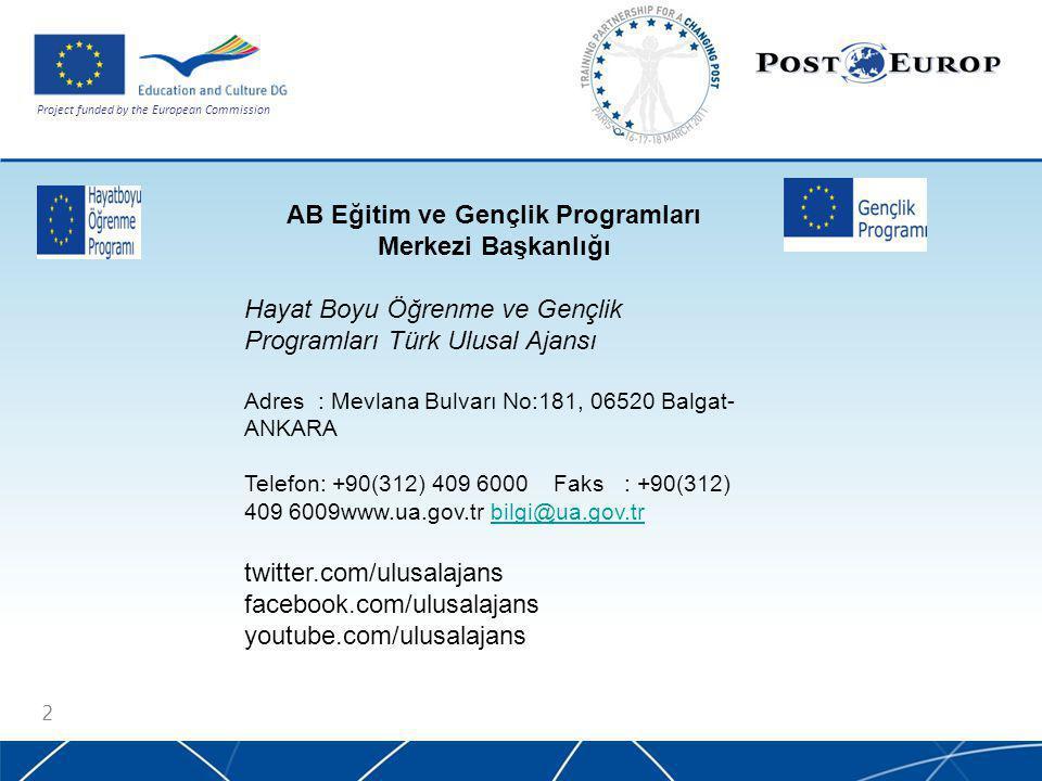 Project funded by the European Commission 2 AB Eğitim ve Gençlik Programları Merkezi Başkanlığı Hayat Boyu Öğrenme ve Gençlik Programları Türk Ulusal Ajansı Adres : Mevlana Bulvarı No:181, 06520 Balgat- ANKARA Telefon: +90(312) 409 6000 Faks : +90(312) 409 6009www.ua.gov.tr bilgi@ua.gov.trbilgi@ua.gov.tr twitter.com/ulusalajans facebook.com/ulusalajans youtube.com/ulusalajans