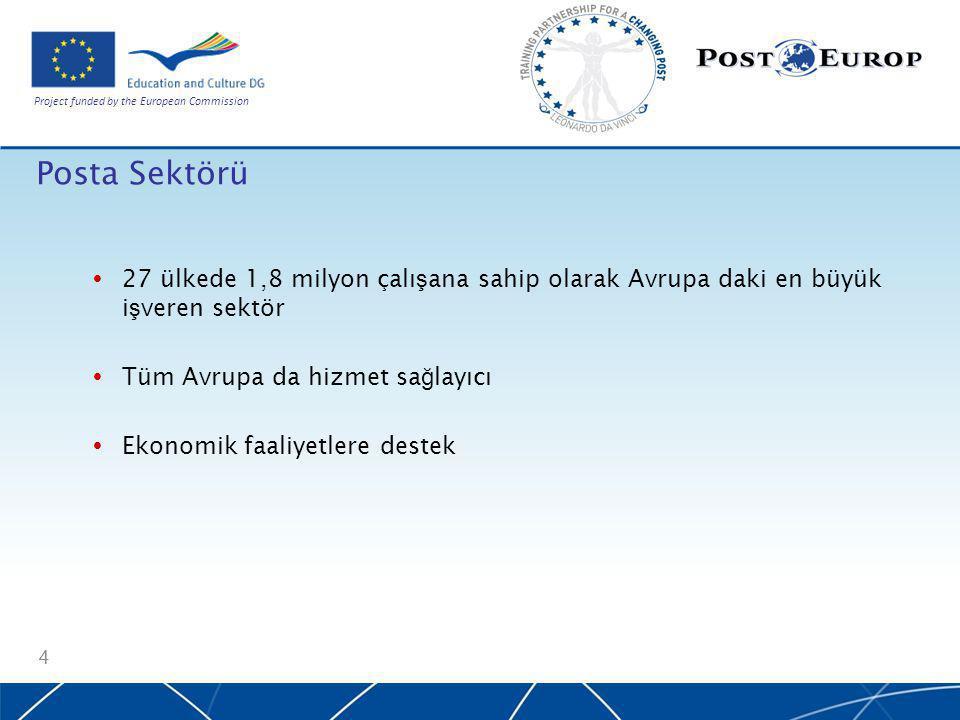 Project funded by the European Commission Posta Sektörü  27 ülkede 1,8 milyon çalı ş ana sahip olarak Avrupa daki en büyük i ş veren sektör  Tüm Avrupa da hizmet sa ğ layıcı  Ekonomik faaliyetlere destek 4
