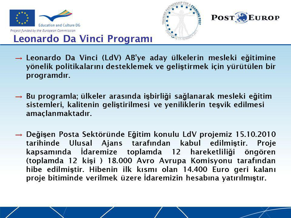 Project funded by the European Commission Leonardo Da Vinci Programı → Leonardo Da Vinci (LdV) AB'ye aday ülkelerin mesleki e ğ itimine yönelik politikalarını desteklemek ve geli ş tirmek için yürütülen bir programdır.