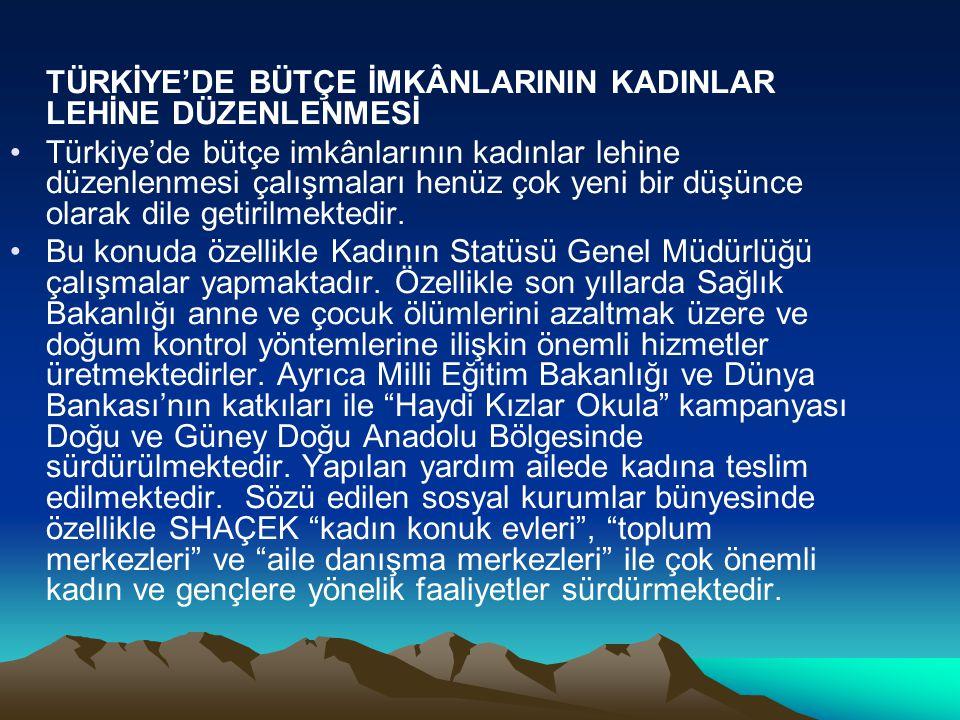 TÜRKİYE'DE BÜTÇE İMKÂNLARININ KADINLAR LEHİNE DÜZENLENMESİ Türkiye'de bütçe imkânlarının kadınlar lehine düzenlenmesi çalışmaları henüz çok yeni bir d