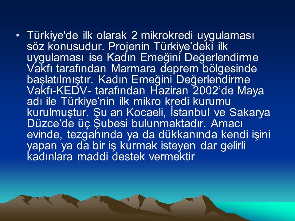 Türkiye'de ilk olarak 2 mikrokredi uygulaması söz konusudur. Projenin Türkiye'deki ilk uygulaması ise Kadın Emeğini Değerlendirme Vakfı tarafından Mar