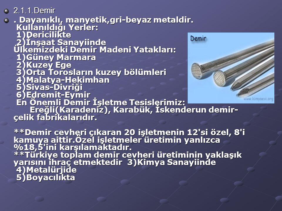 2.1.1.Demir.Dayanıklı, manyetik,gri-beyaz metaldir.