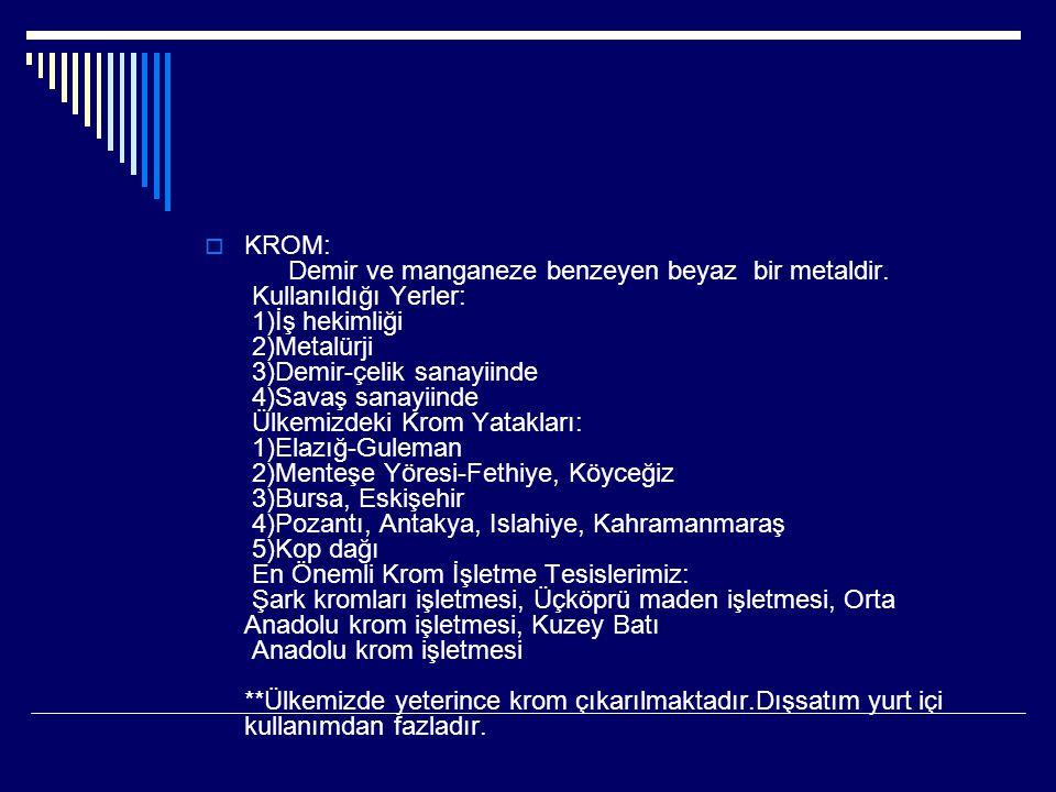 BOR MİNERALLERİ: Karbonla kimi benzerlikler gösteren basit cisimdir. Kullanıldığı Yerler: 1)Metalürji sanayiinde 2)Nükleer reaktörlerde 3)Organik kimy