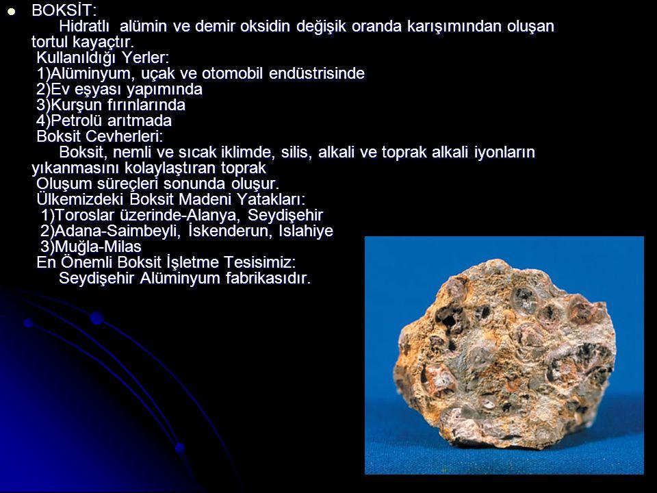  KROM: Demir ve manganeze benzeyen beyaz bir metaldir. Kullanıldığı Yerler: 1)İş hekimliği 2)Metalürji 3)Demir-çelik sanayiinde 4)Savaş sanayiinde Ül