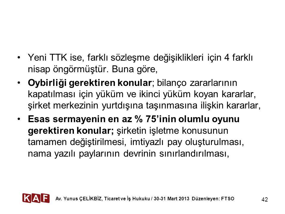 Yeni TTK ise, farklı sözleşme değişiklikleri için 4 farklı nisap öngörmüştür.