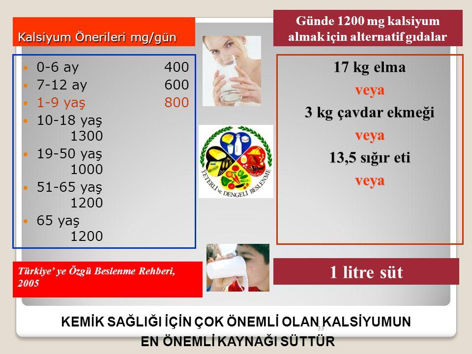 33 Kalsiyum Önerileri mg/gün 0-6 ay 400 7-12 ay600 1-9 yaş800 10-18 yaş 1300 19-50 yaş 1000 51-65 yaş 1200 65 yaş 1200 Türkiye' ye Özgü Beslenme Rehberi, 2005 17 kg elma veya 3 kg çavdar ekmeği veya 13,5 sığır eti veya Günde 1200 mg kalsiyum almak için alternatif gıdalar 1 litre süt KEMİK SAĞLIĞI İÇİN ÇOK ÖNEMLİ OLAN KALSİYUMUN EN ÖNEMLİ KAYNAĞI SÜTTÜR