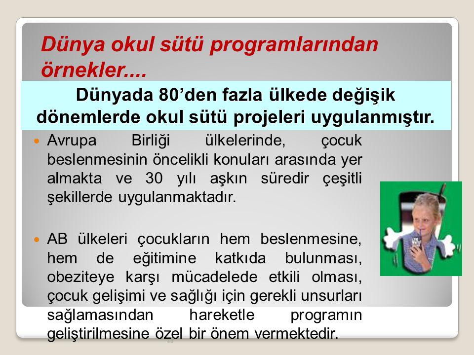 41 Dünya okul sütü programlarından örnekler....