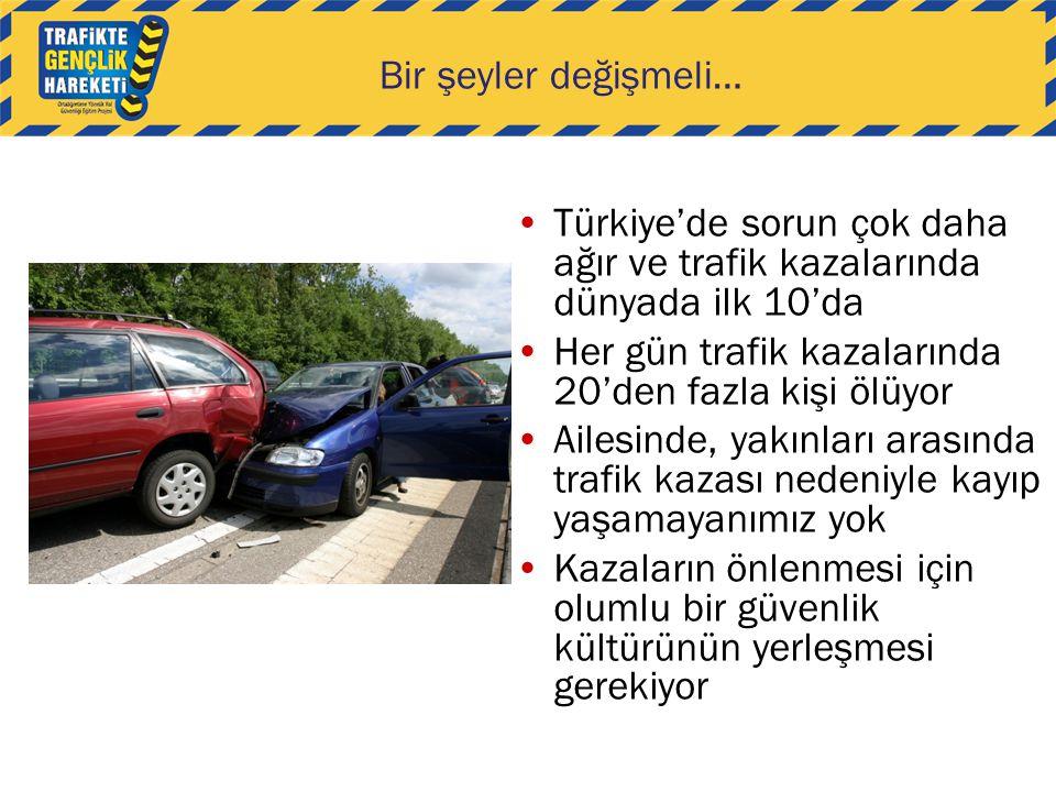 Bir şeyler değişmeli… Türkiye'de sorun çok daha ağır ve trafik kazalarında dünyada ilk 10'da Her gün trafik kazalarında 20'den fazla kişi ölüyor Ailesinde, yakınları arasında trafik kazası nedeniyle kayıp yaşamayanımız yok Kazaların önlenmesi için olumlu bir güvenlik kültürünün yerleşmesi gerekiyor