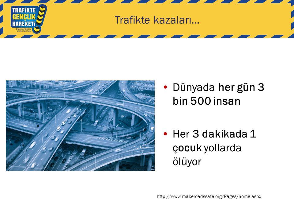 Dünyada her gün 3 bin 500 insan Her 3 dakikada 1 çocuk yollarda ölüyor http://www.makeroadssafe.org/Pages/home.aspx Trafikte kazaları...