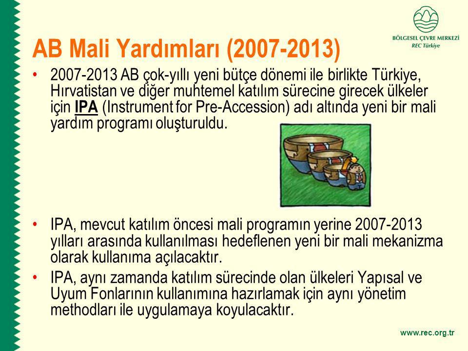 www.rec.org.tr AB Mali Yardımları (2007-2013) 2007-2013 AB çok-yıllı yeni bütçe dönemi ile birlikte Türkiye, Hırvatistan ve diğer muhtemel katılım sür