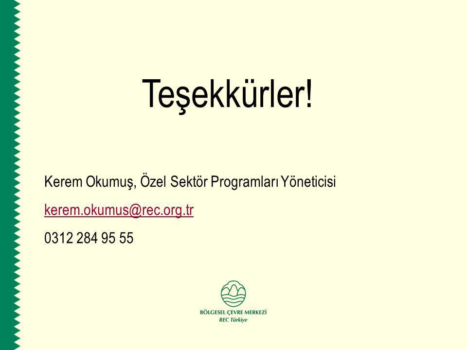 Teşekkürler! Kerem Okumuş, Özel Sektör Programları Yöneticisi kerem.okumus@rec.org.tr 0312 284 95 55