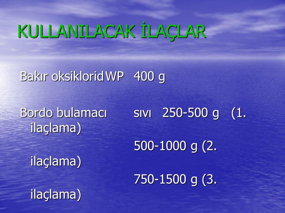 KULLANILACAK İLAÇLAR Bakır oksikloridWP400 g Bordo bulamacısıvı250-500 g (1. ilaçlama) 500-1000 g (2. ilaçlama) 750-1500 g (3. ilaçlama)