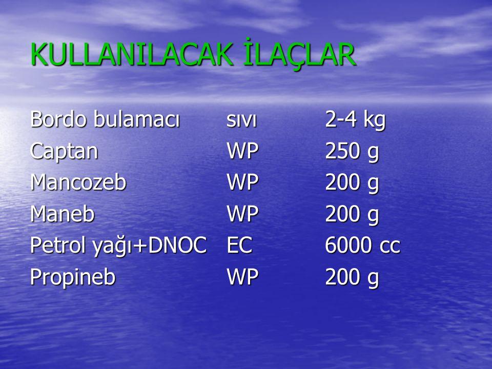 KULLANILACAK İLAÇLAR Bordo bulamacısıvı2-4 kg CaptanWP250 g MancozebWP200 g ManebWP200 g Petrol yağı+DNOC EC6000 cc PropinebWP200 g