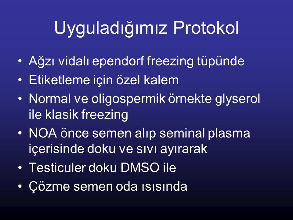 Uyguladığımız Protokol Ağzı vidalı ependorf freezing tüpünde Etiketleme için özel kalem Normal ve oligospermik örnekte glyserol ile klasik freezing NO