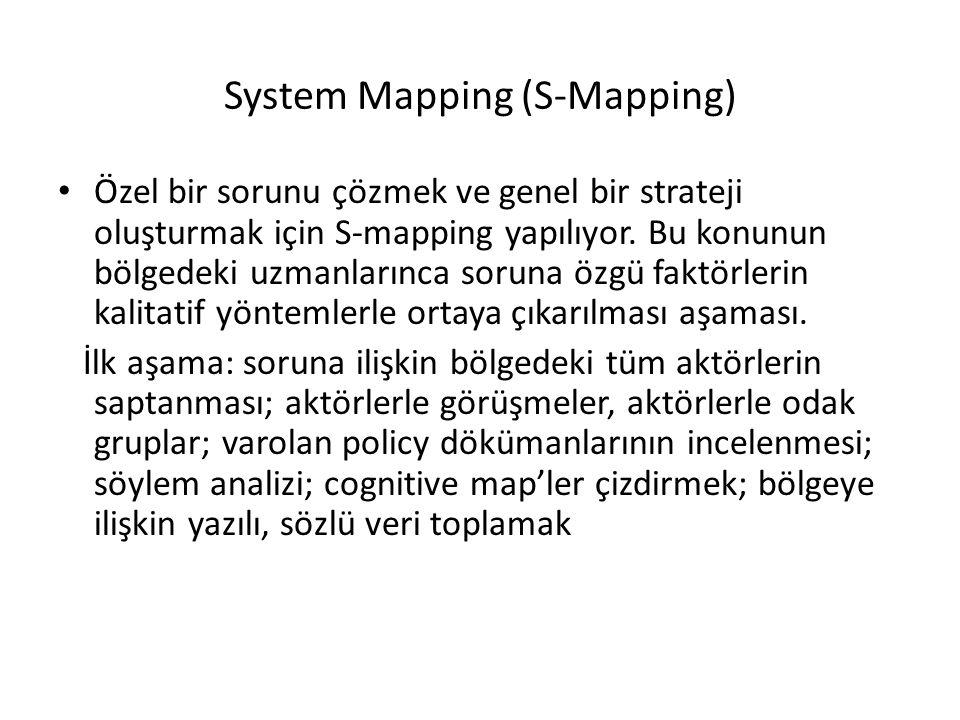 System Mapping (S-Mapping) Özel bir sorunu çözmek ve genel bir strateji oluşturmak için S-mapping yapılıyor. Bu konunun bölgedeki uzmanlarınca soruna