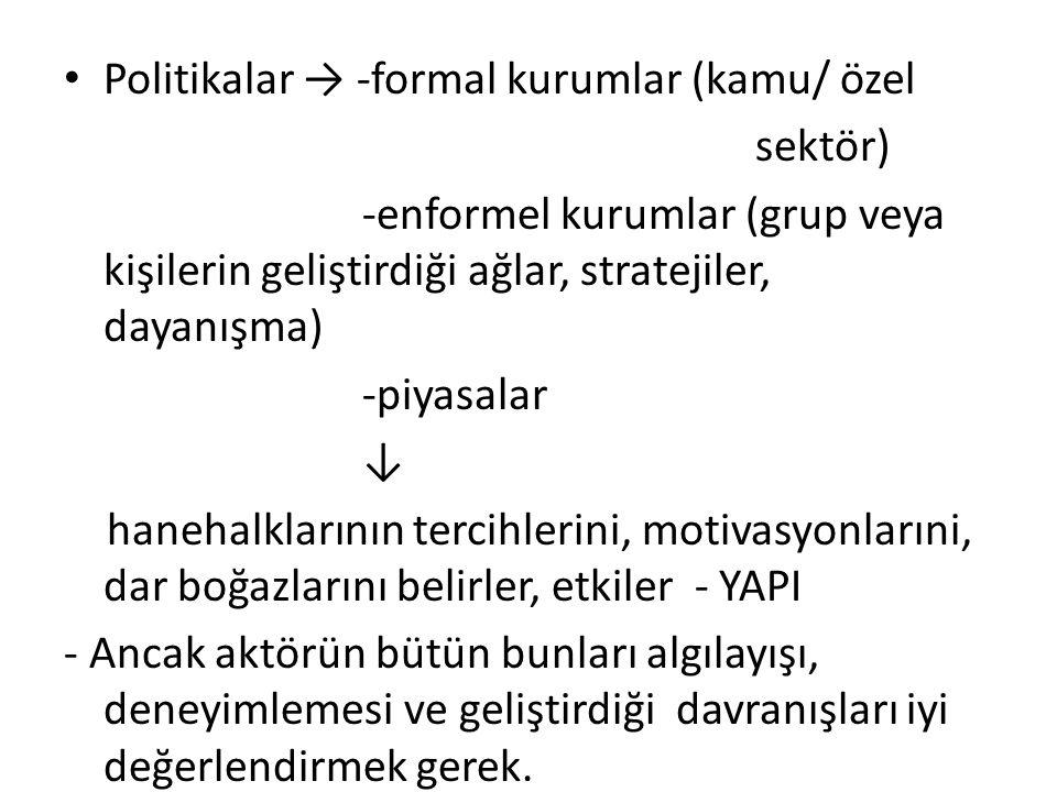 Politikalar → -formal kurumlar (kamu/ özel sektör) -enformel kurumlar (grup veya kişilerin geliştirdiği ağlar, stratejiler, dayanışma) -piyasalar ↓ ha