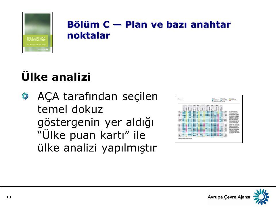 13 Bölüm C — Plan ve bazı anahtar noktalar Ülke analizi AÇA tarafından seçilen temel dokuz göstergenin yer aldığı Ülke puan kartı ile ülke analizi yapılmıştır
