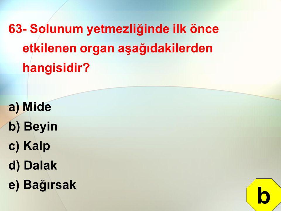 63- Solunum yetmezliğinde ilk önce etkilenen organ aşağıdakilerden hangisidir? a)Mide b) Beyin c) Kalp d) Dalak e) Bağırsak b