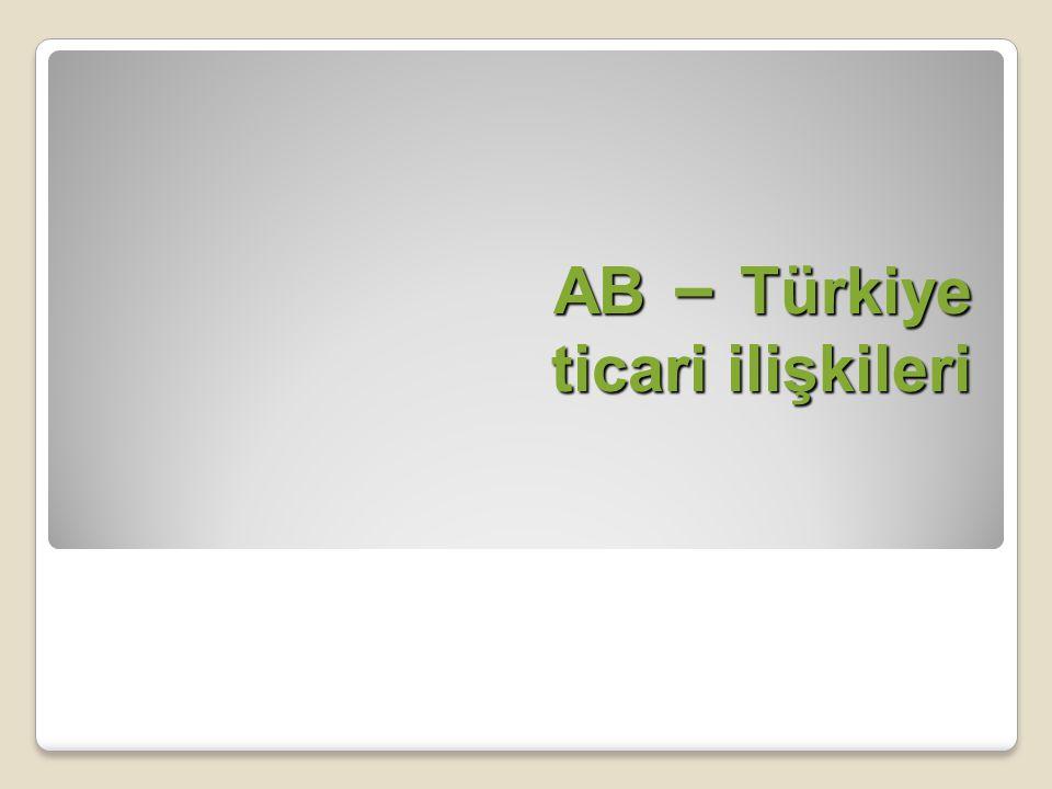 AB – Türkiye ticari ilişkileri