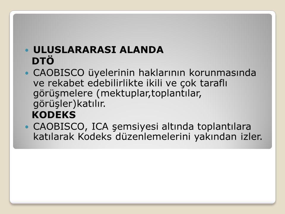 ULUSLARARASI ALANDA DTÖ CAOBISCO üyelerinin haklarının korunmasında ve rekabet edebilirlikte ikili ve çok taraflı görüşmelere (mektuplar,toplantılar, görüşler)katılır.