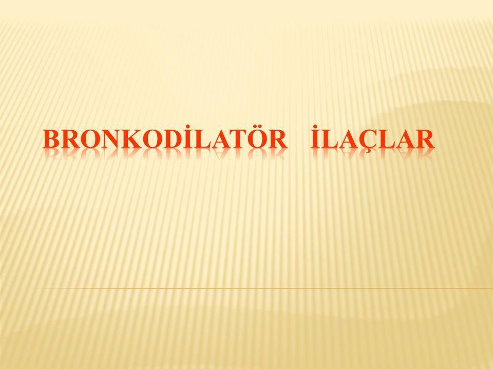 İPRATROPİUM BROMÜR  Kuvaterner azot içeren sentetik bir antimuskarinik ilaçtır.