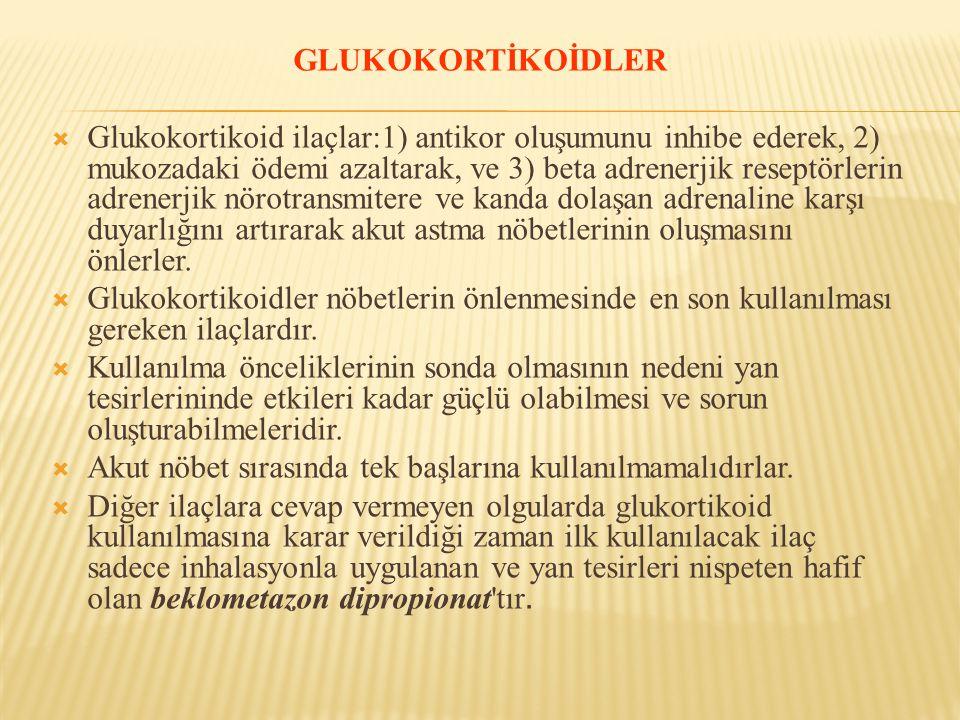 GLUKOKORTİKOİDLER  Glukokortikoid ilaçlar:1) antikor oluşumunu inhibe ederek, 2) mukozadaki ödemi azaltarak, ve 3) beta adrenerjik reseptörlerin adre