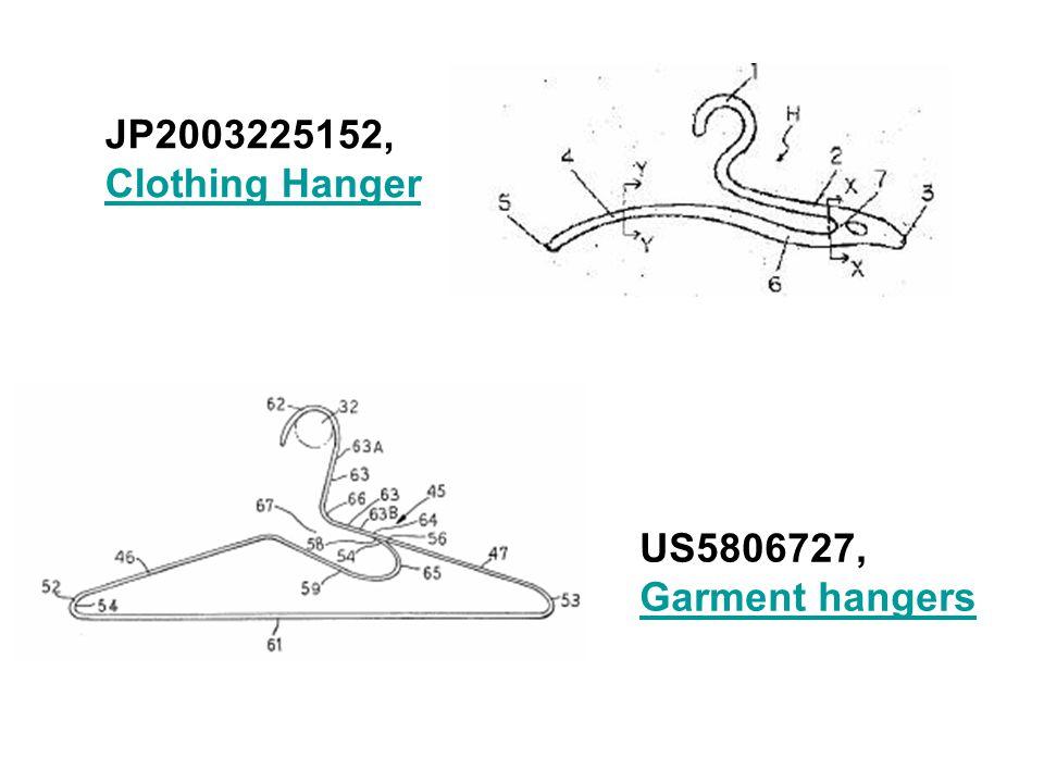JP2003225152, Clothing Hanger Clothing Hanger US5806727, Garment hangers Garment hangers