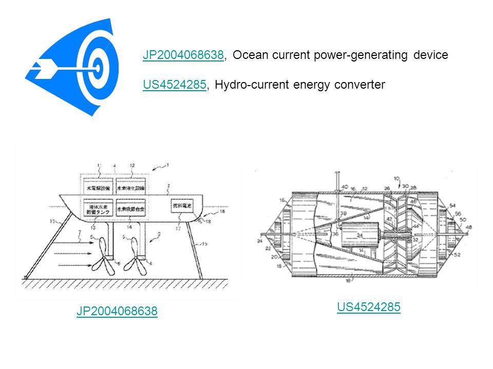 JP2004068638JP2004068638, Ocean current power-generating device US4524285, Hydro-current energy converter US4524285 JP2004068638 US4524285