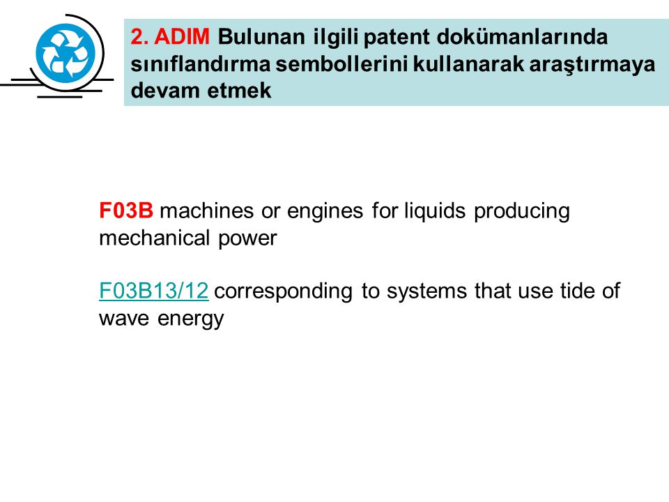 F03B and (stream or current) EP1606513EP1606513, Submerged water current turbines installed on a deck WO2004083629WO2004083629, Submerged power generating apparatus EP1606513 WO2004083629