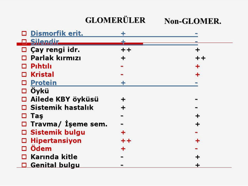  Dismorfik erit.+-  Silendir+-  Çay rengi idr.+++  Parlak kırmızı+++  Pıhtılı-+  Kristal-+  Protein+-  Öykü  Ailede KBY öyküsü+-  Sistemik hastalık+-  Taş-+  Travma/ İşeme sem.-+  Sistemik bulgu+-  Hipertansiyon+++  Ödem+-  Karında kitle-+  Genital bulgu-+ GLOMERÜLER Non-GLOMER.