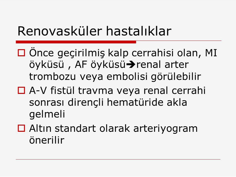 Renovasküler hastalıklar  Önce geçirilmiş kalp cerrahisi olan, MI öyküsü, AF öyküsü  renal arter trombozu veya embolisi görülebilir  A-V fistül travma veya renal cerrahi sonrası dirençli hematüride akla gelmeli  Altın standart olarak arteriyogram önerilir