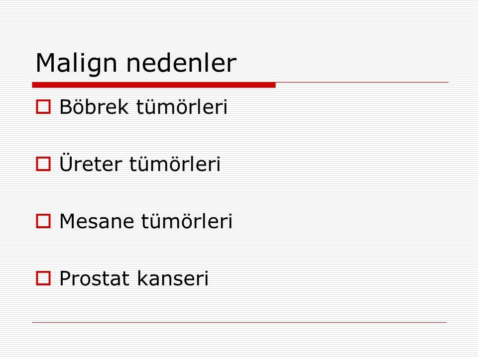 Malign nedenler  Böbrek tümörleri  Üreter tümörleri  Mesane tümörleri  Prostat kanseri
