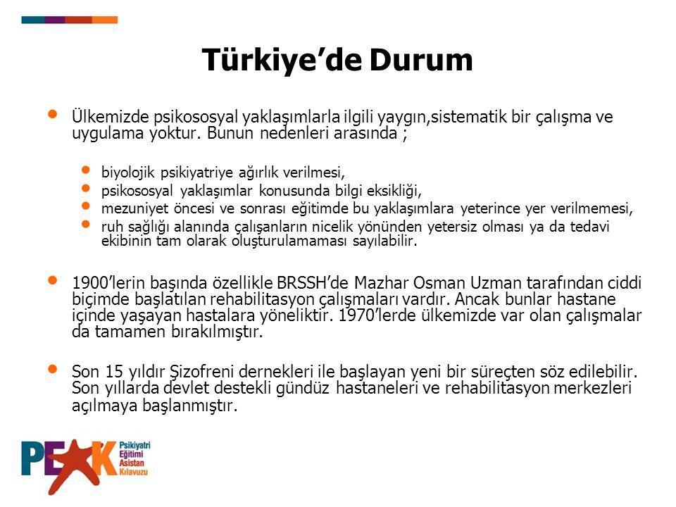 Türkiye'de Durum Ülkemizde psikososyal yaklaşımlarla ilgili yaygın,sistematik bir çalışma ve uygulama yoktur.