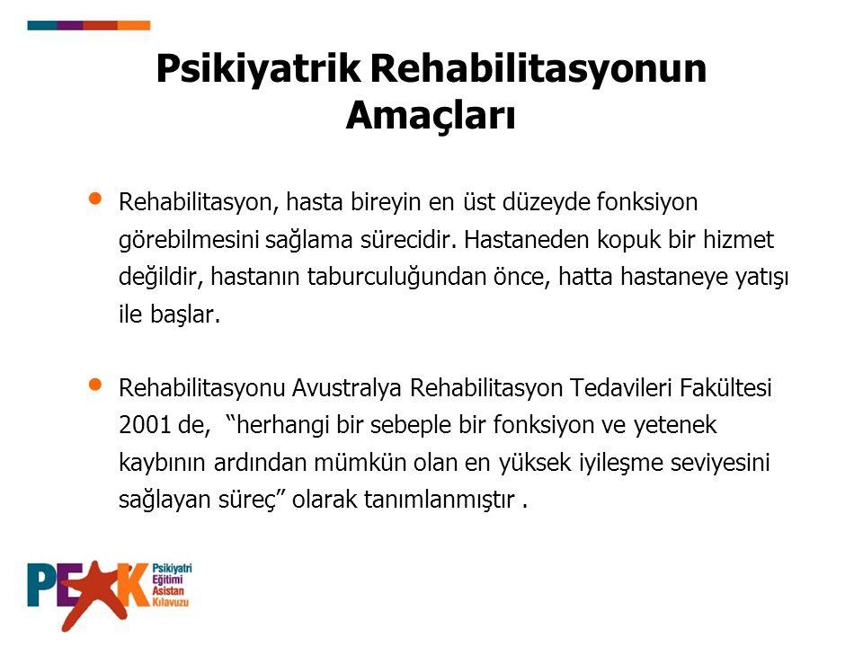 Psikiyatrik Rehabilitasyonun Amaçları Rehabilitasyon, hasta bireyin en üst düzeyde fonksiyon görebilmesini sağlama sürecidir.
