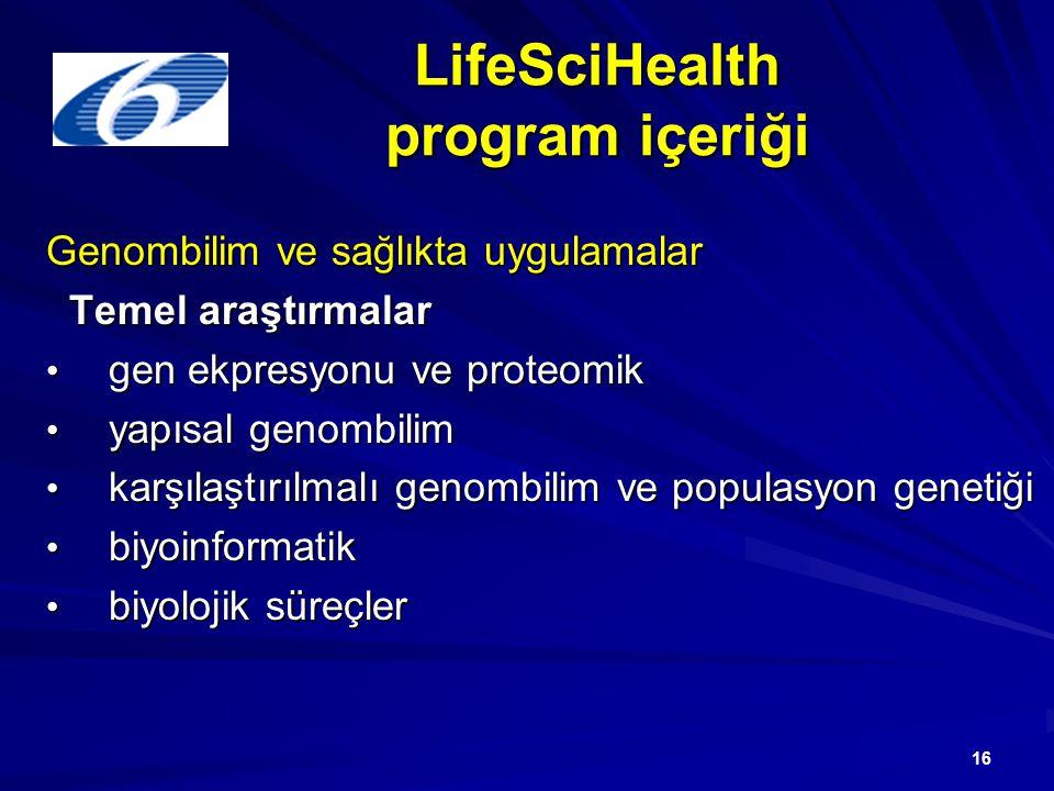 16 LifeSciHealth program içeriği Genombilim ve sağlıkta uygulamalar Temel araştırmalar Temel araştırmalar gen ekpresyonu ve proteomik gen ekpresyonu ve proteomik yapısal genombilim yapısal genombilim karşılaştırılmalı genombilim ve populasyon genetiği karşılaştırılmalı genombilim ve populasyon genetiği biyoinformatik biyoinformatik biyolojik süreçler biyolojik süreçler
