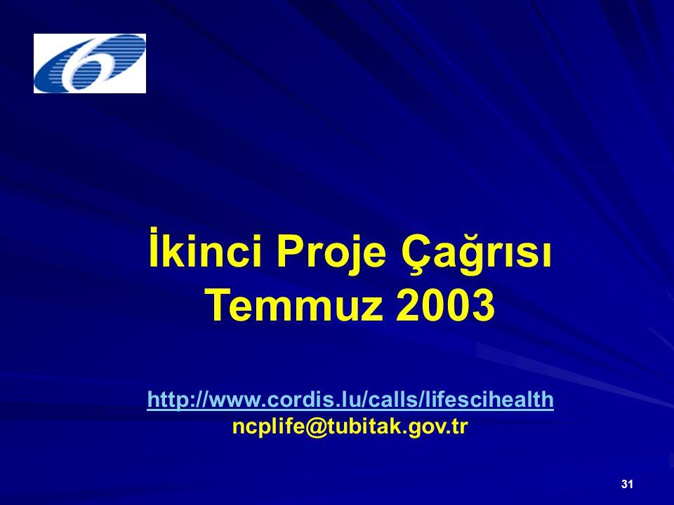 31 İkinci Proje Çağrısı Temmuz 2003 http://www.cordis.lu/calls/lifescihealth ncplife@tubitak.gov.tr