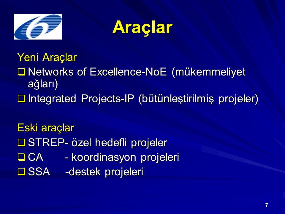 7 Araçlar Yeni Araçlar  Networks of Excellence-NoE (mükemmeliyet ağları)  Integrated Projects-IP (bütünleştirilmiş projeler) Eski araçlar  STREP- ö