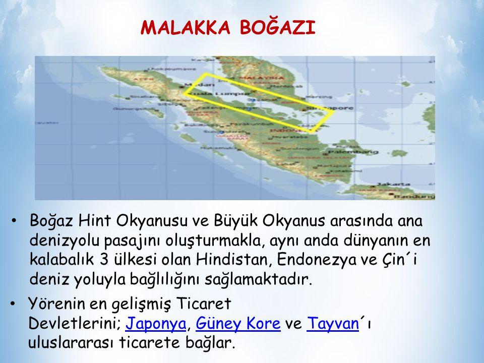 MALAKKA BOĞAZI Malakka Boğazı, Malezya Yarımadası (Batı Malezya) ve Endonezya ya bağlı Sumatra adası arasında 805 km uzunluğunda dar bir boğazdır.Malezya YarımadasıMalezyaEndonezya Sumatra Ekonomik ve stratejik açıdan bakıldığında Malakka Boğazı dünyanın en önemli deniz yollarından biri olup, Süveyş Kanalı ve Panama Kanalı´nın bir eşdeğeridir.Süveyş KanalıPanama Kanalı