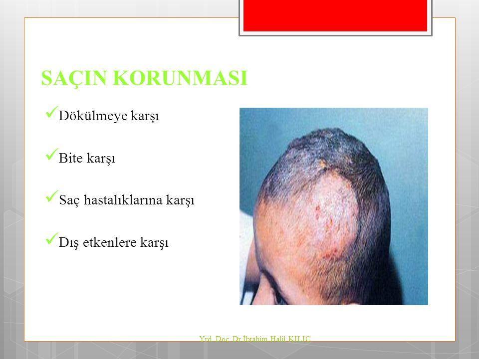SAÇIN KORUNMASI Dökülmeye karşı Bite karşı Saç hastalıklarına karşı Dış etkenlere karşı Yrd. Doç. Dr İbrahim Halil KILIÇ
