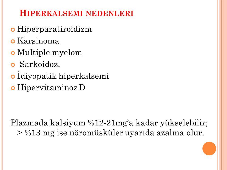 H IPERKALSEMI NEDENLERI Hiperparatiroidizm Karsinoma Multiple myelom Sarkoidoz. İdiyopatik hiperkalsemi Hipervitaminoz D Plazmada kalsiyum %12-21mg'a