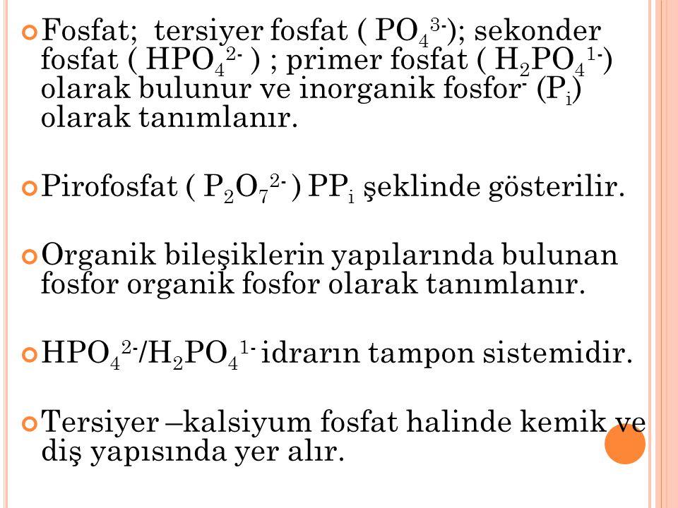 Fosfat; tersiyer fosfat ( PO 4 3- ); sekonder fosfat ( HPO 4 2- ) ; primer fosfat ( H 2 PO 4 1- ) olarak bulunur ve inorganik fosfor - (P i ) olarak t