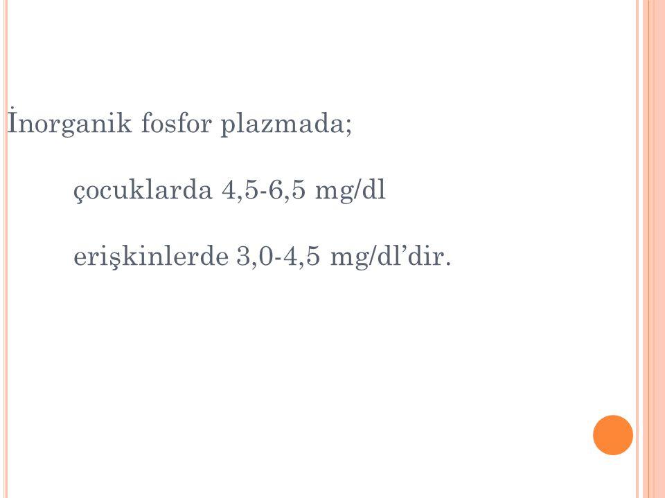 İnorganik fosfor plazmada; çocuklarda 4,5-6,5 mg/dl erişkinlerde 3,0-4,5 mg/dl'dir.