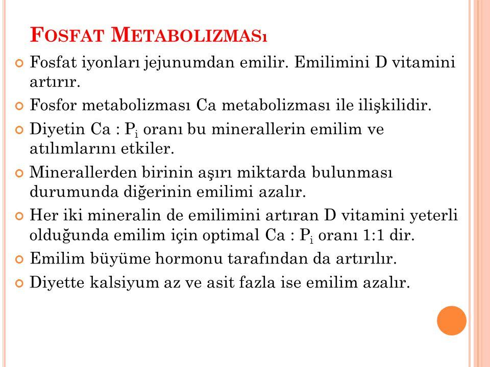 F OSFAT M ETABOLIZMASı Fosfat iyonları jejunumdan emilir. Emilimini D vitamini artırır. Fosfor metabolizması Ca metabolizması ile ilişkilidir. Diyetin