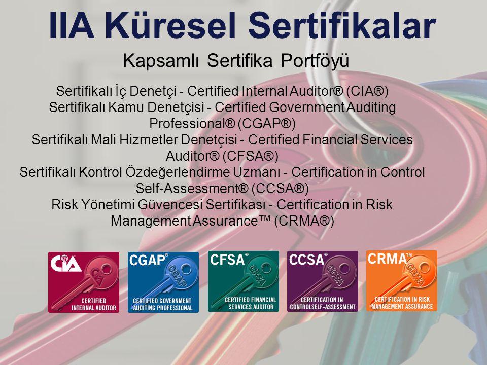 IIA Küresel Sertifikalar Kapsamlı Sertifika Portföyü Sertifikalı İç Denetçi - Certified Internal Auditor® (CIA®) Sertifikalı Kamu Denetçisi - Certified Government Auditing Professional® (CGAP®) Sertifikalı Mali Hizmetler Denetçisi - Certified Financial Services Auditor® (CFSA®) Sertifikalı Kontrol Özdeğerlendirme Uzmanı - Certification in Control Self-Assessment® (CCSA®) Risk Yönetimi Güvencesi Sertifikası - Certification in Risk Management Assurance™ (CRMA®)