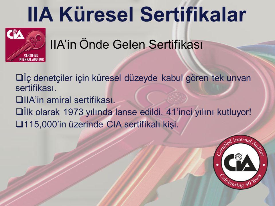 IIA Küresel Sertifikalar  İç denetçiler için küresel düzeyde kabul gören tek unvan sertifikası.