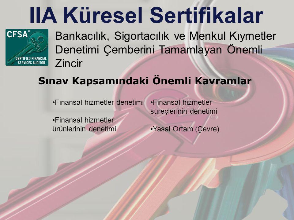 IIA Küresel Sertifikalar Bankacılık, Sigortacılık ve Menkul Kıymetler Denetimi Çemberini Tamamlayan Önemli Zincir Sınav Kapsamındaki Önemli Kavramlar Finansal hizmetler denetimi Finansal hizmetler ürünlerinin denetimi Finansal hizmetler süreçlerinin denetimi Yasal Ortam (Çevre)